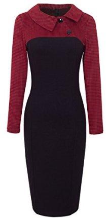 HOMEYEE Retro Chic Colorblock Lapel Career Tunic Dress