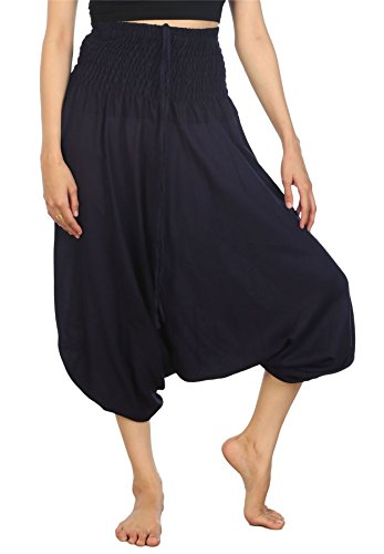 Lofbaz Women's Smocked Waist Aladdin Genie 2 In 1 Harem Pants Jumpsuit
