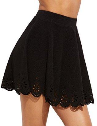 SheIn Women's Basic Solid Flared Mini Skater Skirt 6