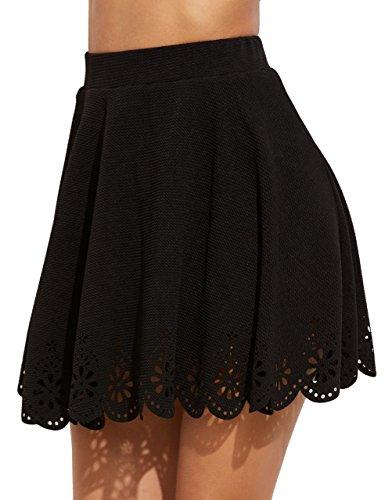 SheIn Women's Basic Solid Flared Mini Skater Skirt