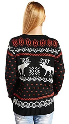 Hanson Women's Patterns Of Reindeer Snowman Christmas Cardigan 4