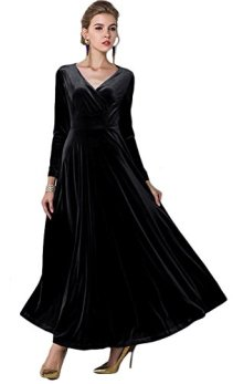 Urban CoCo Women long sleeve V-neck Velvet Stretchy Long Dress 4