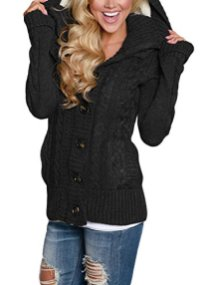 Sidefeel Women Hooded Knit Cardigans Button Cable Sweater Coat 2