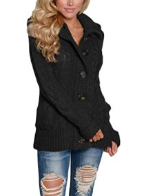 Sidefeel Women Hooded Knit Cardigans Button Cable Sweater Coat 3