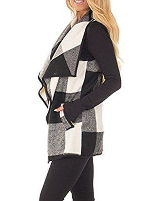 SocoToo Women's Color Block Lapel Open Front Sleeveless Plaid Vest Cardigan 2