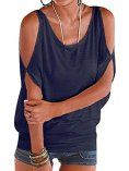 YOINS Women Summer T Shirt Cold Shoulder 2