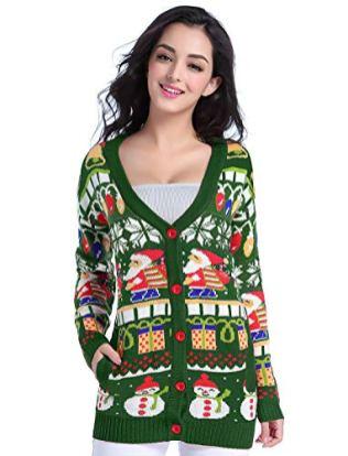 Christmas Sweater Cardigan, Women Girls 2