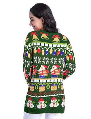 Christmas Sweater Cardigan, Women Girls 3