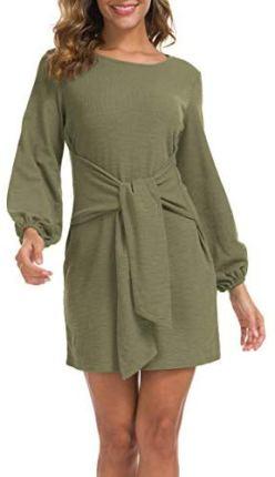 Lionstill Elegant Long Sleeve Dress Casual Tie Waist Sweater Dresses