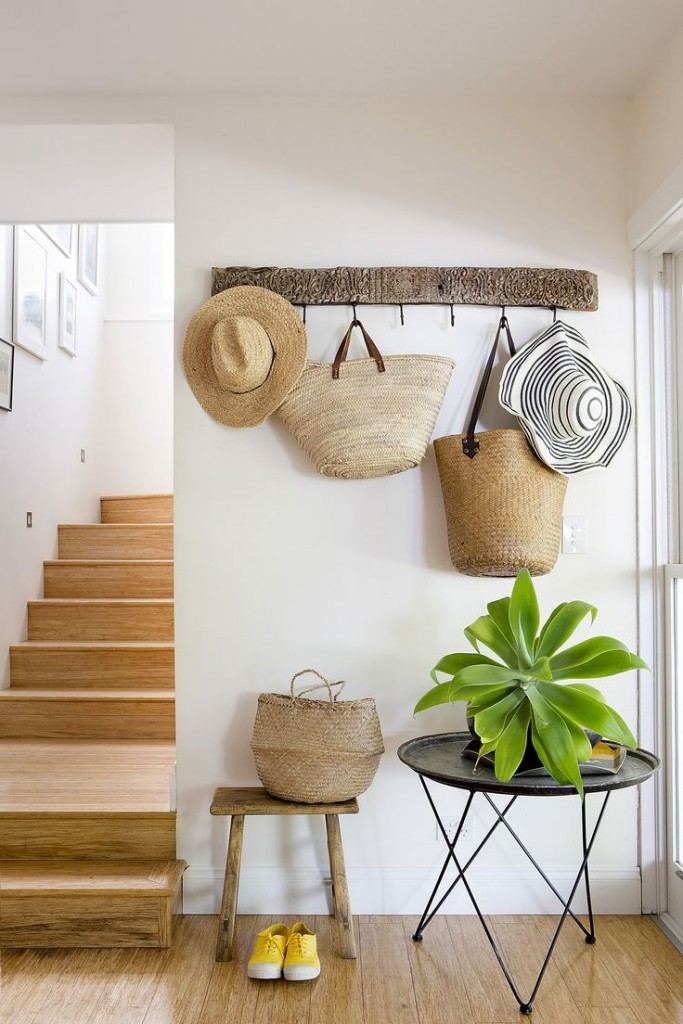 Straw hats and baskets display