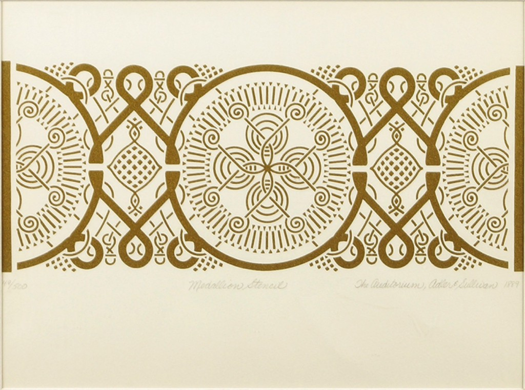 Medallion stencil depiction of interior decoration from The Auditorium Theatre (Courtesy of Susanin's Auctioneers & Appraisers)