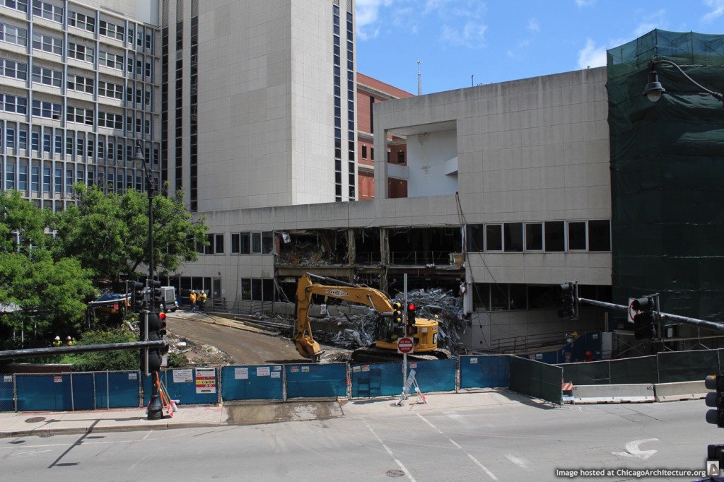 Demolition work at the former Children's Memorial Hospital (Courtesy of Building Up Chicago)