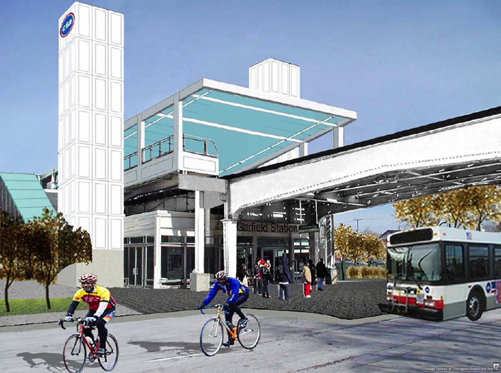 Rendering of the CTA Green Line Garfield Station renovation