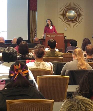 Julie Segre, presenting her talk on Microbial Genetics