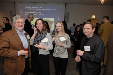 CBC community members (from left): Tom O'Halloran (NU), Kate Timmerman and Katie Bailey (UChicago), and Robert Holmgren (NU)