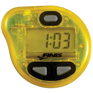 Use a tempo trainer like this one from Finis during open water swim practices.
