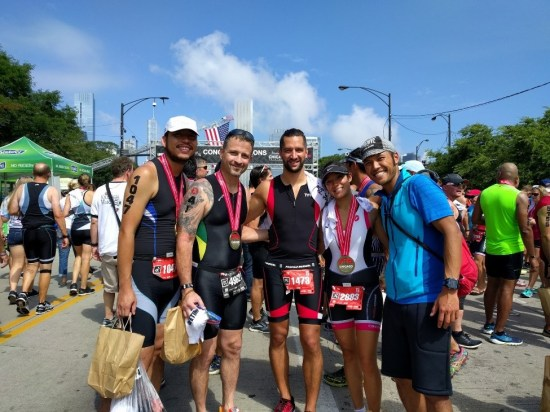 Celebrating after the Chicago Triathlon