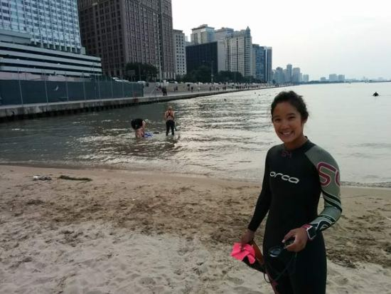 Open water swimming at Ohio Street Beach in Chicago