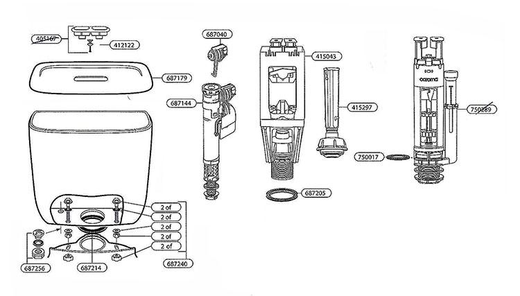 629435w Two Piece Toilet Repair Parts