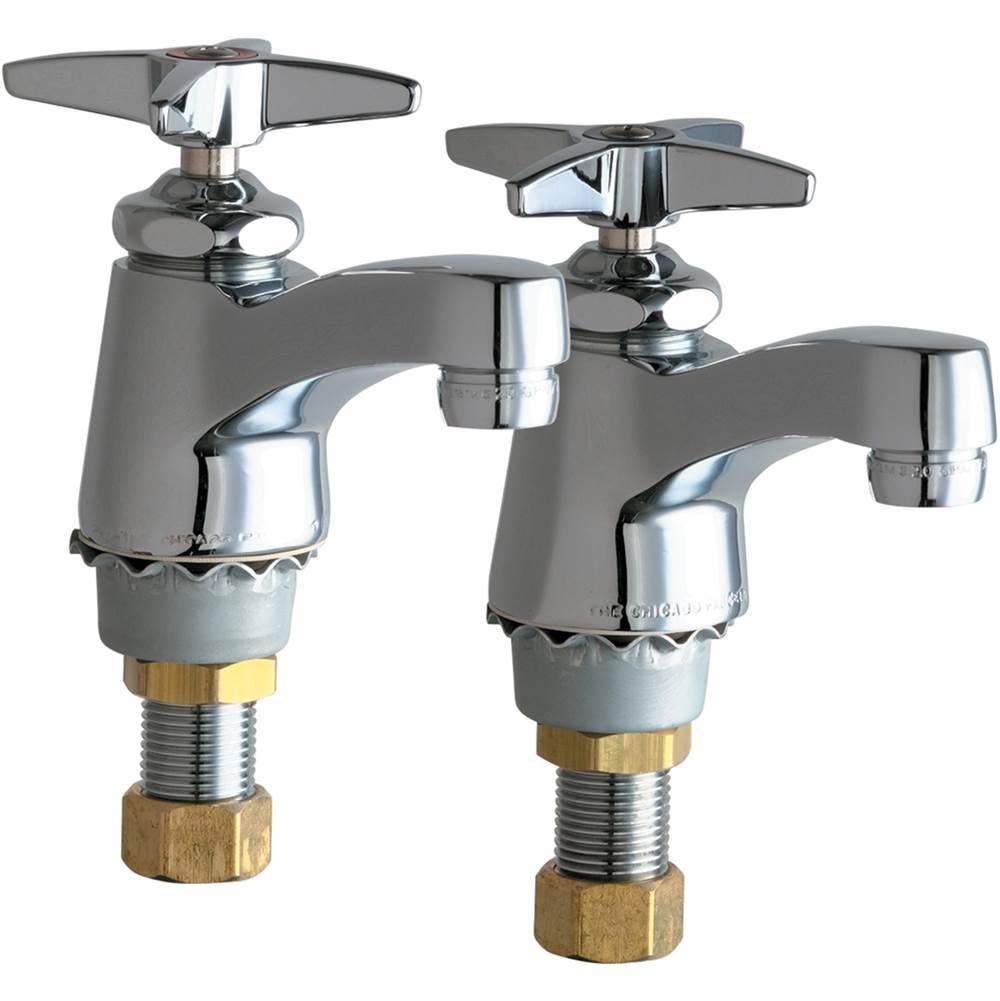chicago faucets 700 prabcp two single supply hot and cold water sink faucets