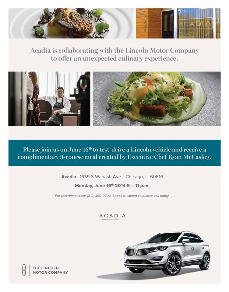 Lincoln Driven to Dine Event at Acadia Restaurant