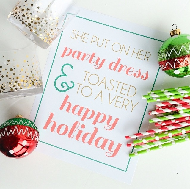 Free Giveaway: 'She Put On Her Party Dress & Toasted To A Very Happy Holiday' Print