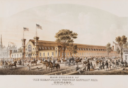Lithograph of main building of Great Northwestern Sanitary Fair