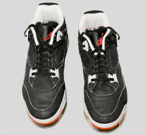 Black Air Jordan shoes worn by Michael Jordan