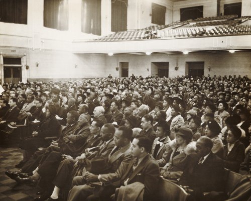 Meeting of Brotherhood of Sleeping Car Porters in auditorium