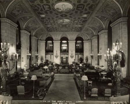 View of the Great Hall Lobby from the Empire Room at Palmer House; Chicago, Illinois; 1925