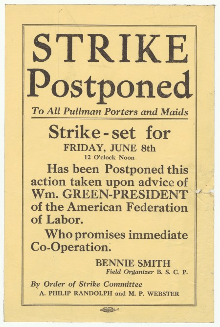 Broadside announcing the postponement of a Pullman porter strike.