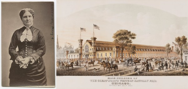 Split image. Portrait of Mary Livermore and lithograph of the main building of the Great North Western Sanitary Fair