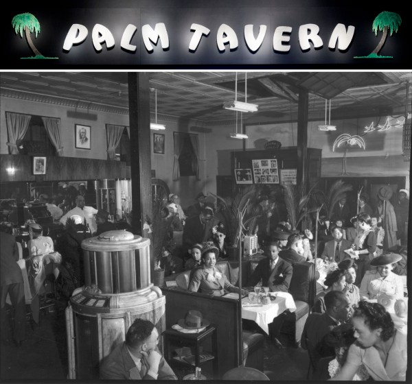 Letters of Palm Tavern sign above photograph of patrons at the Palm Tavern