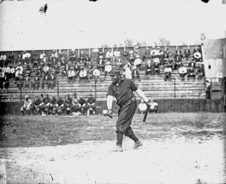 Rube Foster of the Leland Giants follows through after swinging a bat, Chicago, 1909. SDN-055361, Chicago Daily News collection, CHM