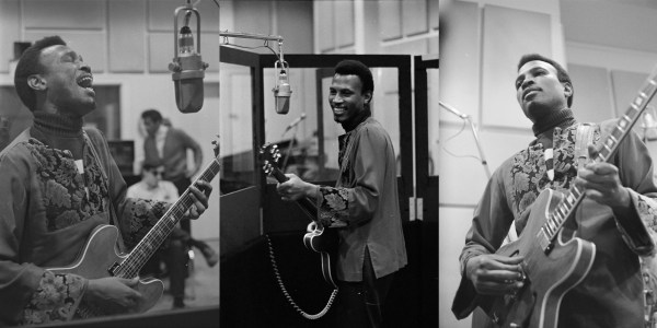 Three images of Magic Sam in a recording studio singing and playing guitar