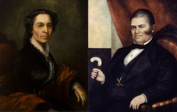 Left: seated portrait of Mary Richardson Jones; right: seated portrait of John Jones