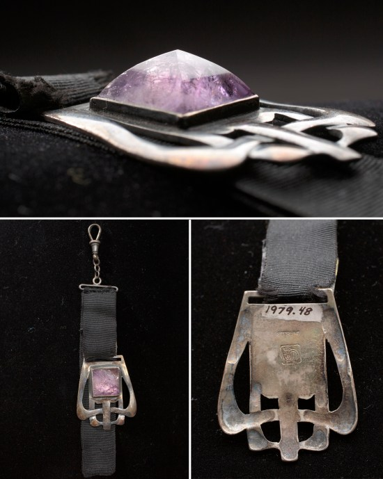 Watch fob with amethyst stone by Carence Crafters, with close up details