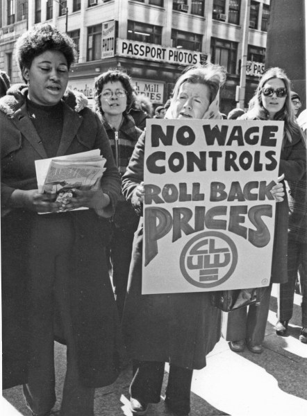 Group of Coalition of Labor Union Women picketers with No Wage Controls Roll Back Prices