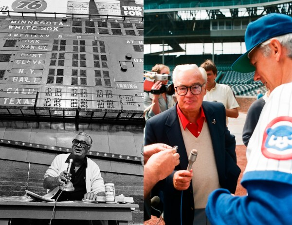 Left: black and white photo of Harry Caray announcing a White Sox game at Comiskey Park; right: color photo of Harry Caray with microphone