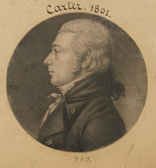 Profile portrait from the shoulder up of Robert Carter
