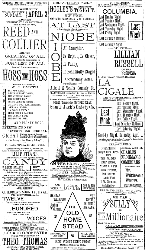 Section of theater advertisements from the 1892 Chicago Tribune