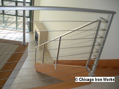 Modern Cable Railing Chicago Iron Works   Steel Cable Stair Railing   Diy   White   Balcony   Steel Wire   Industrial