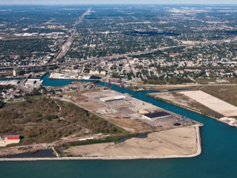Aerial view of disposal facility located on Lake Michigan's shore near 95th Street