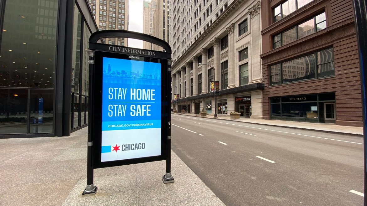 Jackson Avenue at Federal Plaza, Stay Home City of Chicago Ad