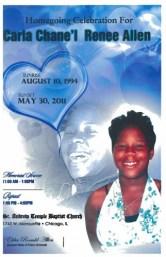 A program from Carla Allen's funeral