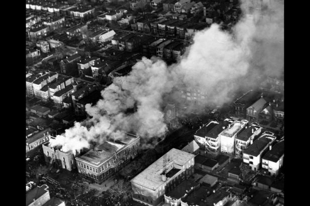WARNING: GRAPHIC IMAGES. Aerial view of Our Lady of the Angels grade school on fire Dec. 1, 1958, in Chicago. The fire, on the city's West Side, took the lives of 92 children and three nuns. (Chicago Tribune historical photo) (image)