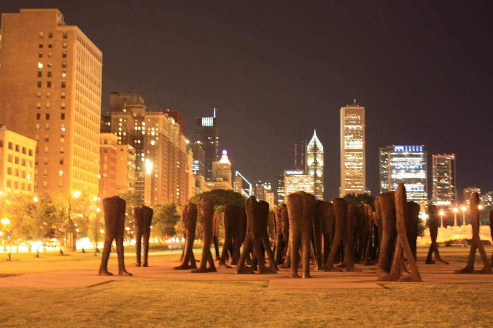 Agora in Grant Park against night skyscape