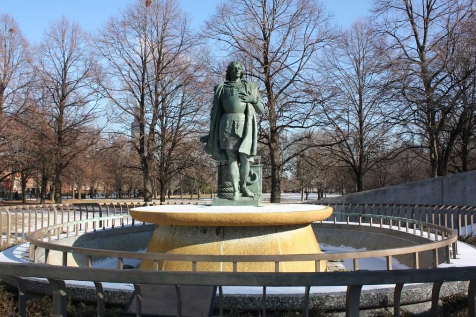 Columbus fountain guarding Arrigo Park entrance