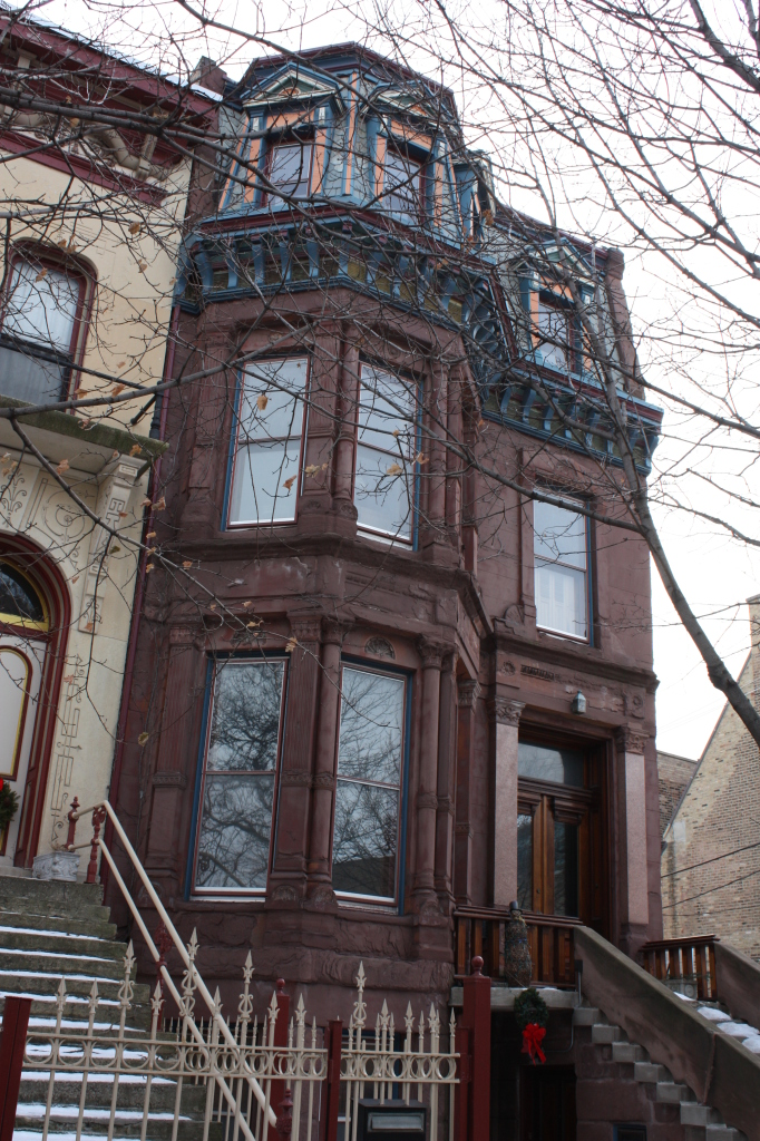 Walter M Pond House at 1537 W Adams St. is a Second-empire style mansion from around 1879 complete with Mansard roof.