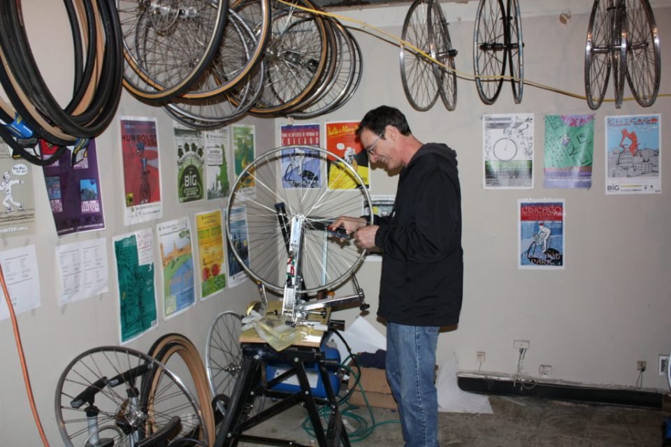 Michael Latham works on a wheel